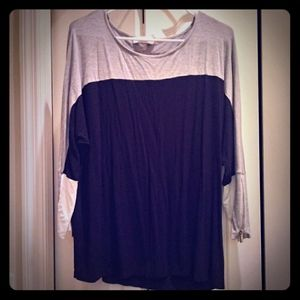 Calvin Klein dolman sleeves black gray white large